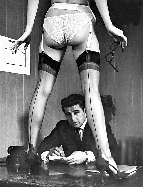 Backseam stocking man at desk
