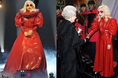 Atsuko kudo lady gaga red dress queen of england
